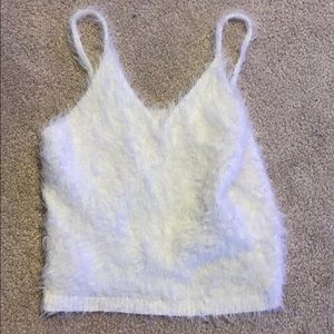 White fluffy cropped top tank